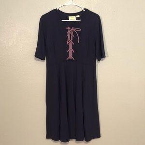 Maeve Navy Purple Tie front Flare Dress S